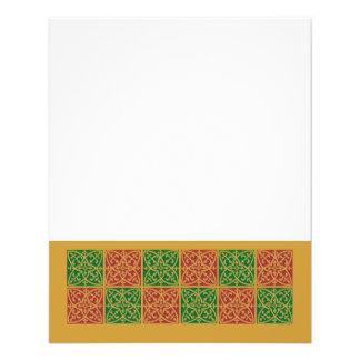 Arte rojo y verde de la teja en modelo del oro folleto 11,4 x 14,2 cm