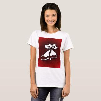 Arte romántico lindo de la camiseta de los pares