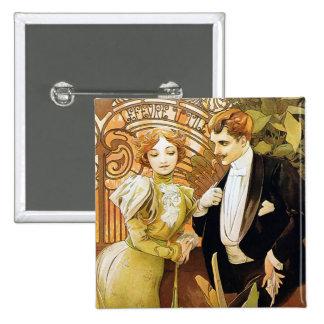 Arte romántico Nouveau del vintage del ligón de Chapa Cuadrada 5 Cm