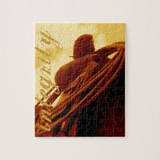 Arte roping rústico occidental de la silla de puzzle