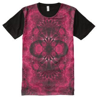 Arte rosado colorido de la mandala del indie camiseta con estampado integral