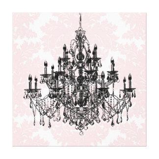 Arte rosado de la lona de la lámpara del damasco
