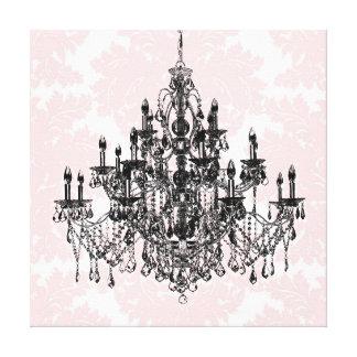 Arte rosado de la pared de la lona de la lámpara