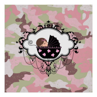 Arte rosado de la pared de la niña del camuflaje póster
