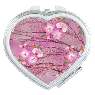 Arte rosado de Origami de la flor de cerezo Espejo Compacto