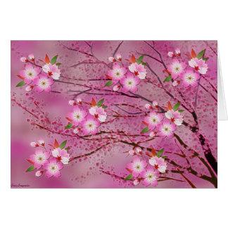 Arte rosado de Origami de la flor de cerezo Tarjeta Pequeña