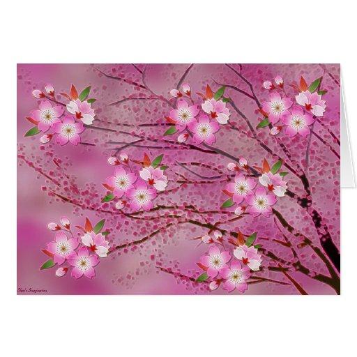 Arte rosado de Origami de la flor de cerezo Tarjeta