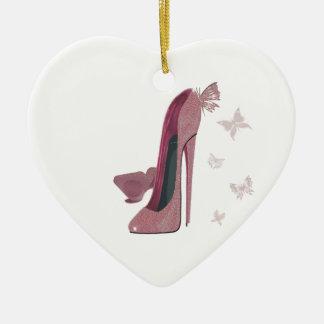 Arte rosado del estilete y de la mariposa de la adorno de cerámica en forma de corazón