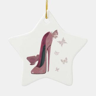 Arte rosado del estilete y de la mariposa de la adorno de cerámica en forma de estrella