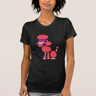 Arte rosado divertido del perro de caniche camiseta