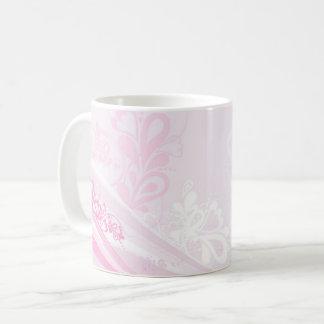 Arte rosado hermoso del remolino de los corazones taza de café