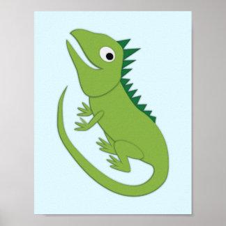 Póster Arte simple del cuarto de niños de la iguana