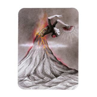 Arte surrealista del lápiz del volcán de la mujer imán rectangular