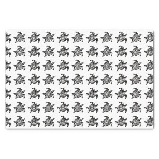 Arte tribal blanco y negro de la tortuga papel de seda
