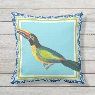 Arte tropical del modelo del batik del pájaro de cojín de exterior