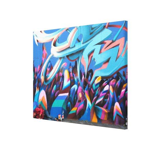 Arte urbano colorido de la calle de la pintada impresiones en lienzo estiradas