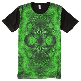 Arte verde colorido de la mandala del indie camiseta con estampado integral