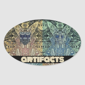 artefactos 4 cabezas de la mosca 3' oval pegatina ovalada
