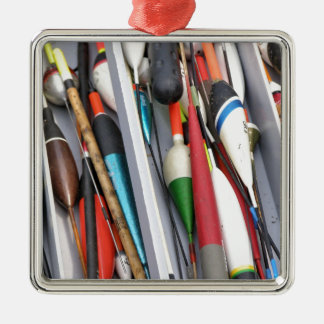 Artes de pesca adorno navideño cuadrado de metal