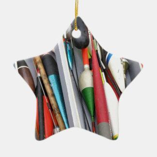 Artes de pesca adorno navideño de cerámica en forma de estrella