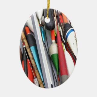 Artes de pesca adorno navideño ovalado de cerámica