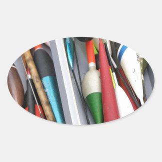Artes de pesca pegatina ovalada