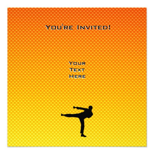 Artes marciales amarillo-naranja invitaciones personales
