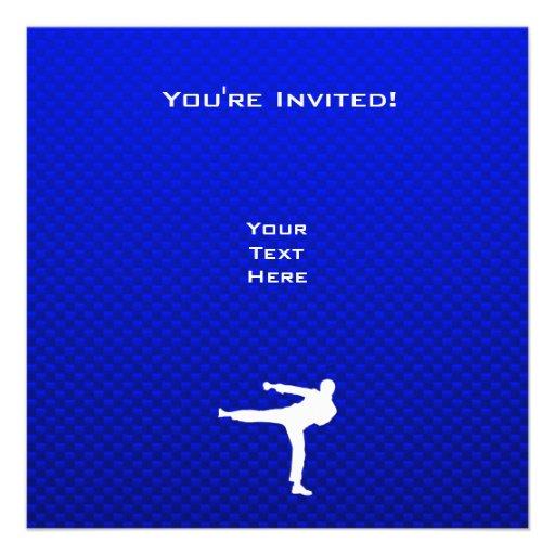 Artes marciales azules invitaciones personalizada