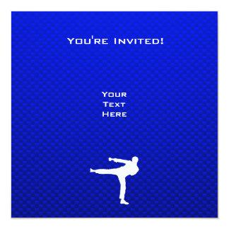 Artes marciales azules invitación 13,3 cm x 13,3cm