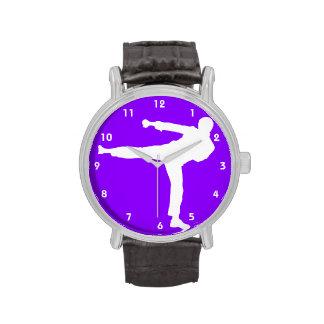 Artes marciales púrpuras violetas reloj de mano