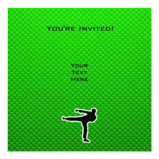 Artes marciales verdes invitación 13,3 cm x 13,3cm
