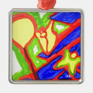 Artes visuales 822 adorno navideño cuadrado de metal