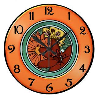 Artes y placa de la flor de los artes en naranja y reloj redondo grande