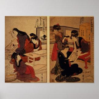 Artesanos que hacen un grabar en madera, c.1857 posters