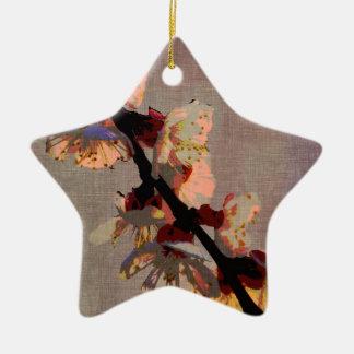 Artículo de la rama de la flor de cerezo adorno navideño de cerámica en forma de estrella