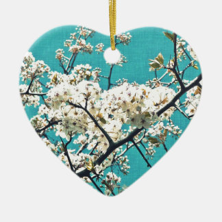 Artículo del flor del vintage adorno navideño de cerámica en forma de corazón