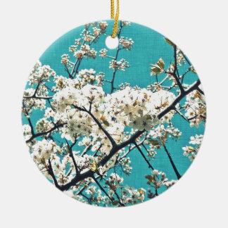 Artículo del flor del vintage adorno navideño redondo de cerámica