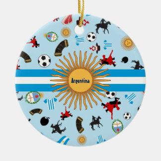 Artículos de la Argentina con la bandera a través Adorno Navideño Redondo De Cerámica