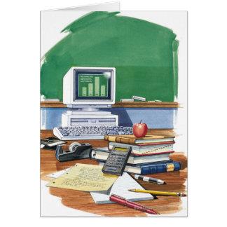 Artículos en un color del escritorio de los profes felicitacion