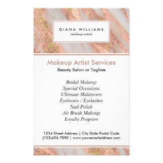 Artista de maquillaje abstracto de mármol rosado flyer