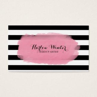 Artista de maquillaje blanco de las rayas del tarjeta de visita