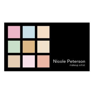 artista de maquillaje - colores en colores pastel tarjetas de visita