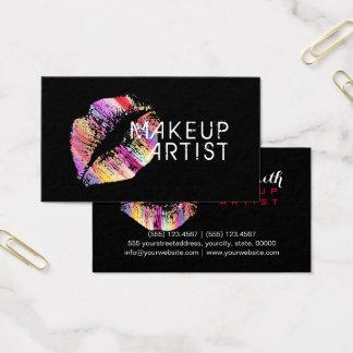 Artista de maquillaje colorido elegante de los tarjeta de negocios
