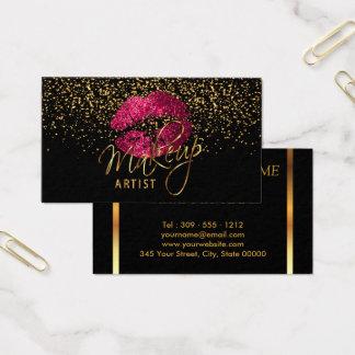 Artista de maquillaje con los labios del confeti y tarjeta de visita