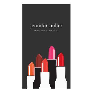 Artista de maquillaje del collage del lápiz labial tarjetas de visita