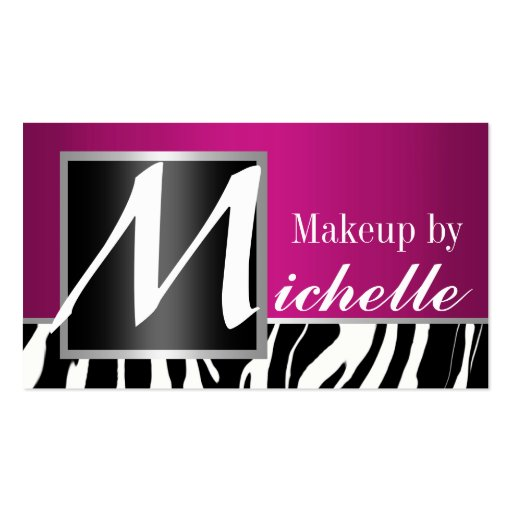 Artista de maquillaje del monograma de la cebra tarjeta personal