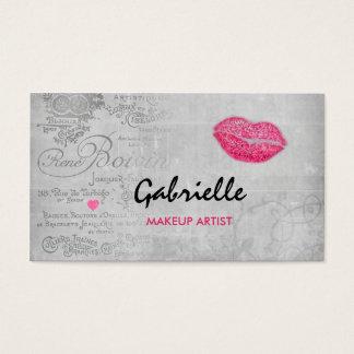 Artista de maquillaje femenino del beso de los tarjeta de negocios