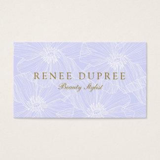 Artista de maquillaje floral dibujado mano de la tarjeta de negocios