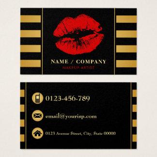 Artista de maquillaje negro elegante del oro tarjeta de negocios