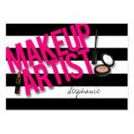 Artista de maquillaje negro y rosado tarjetas de visita
